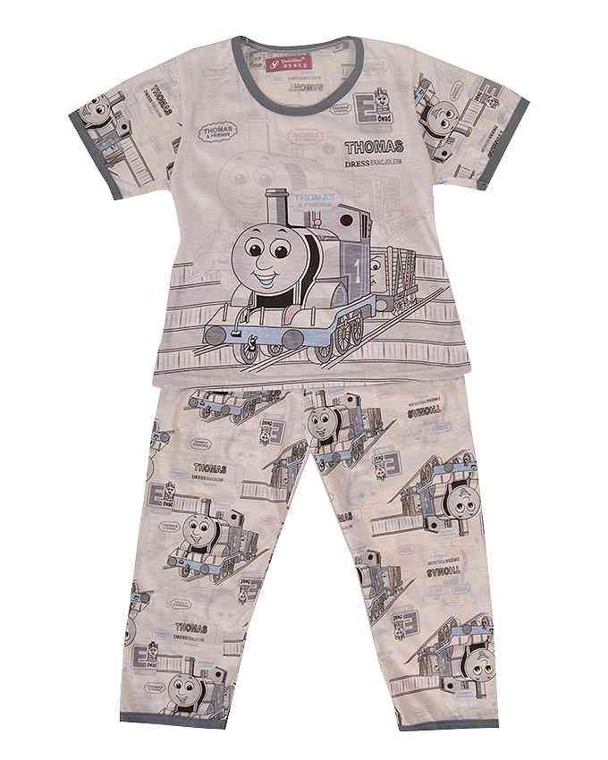 Pack of 2 Pure Cotton Night Suit (Pajama + Tshirt) for Boys - Cartoon Train