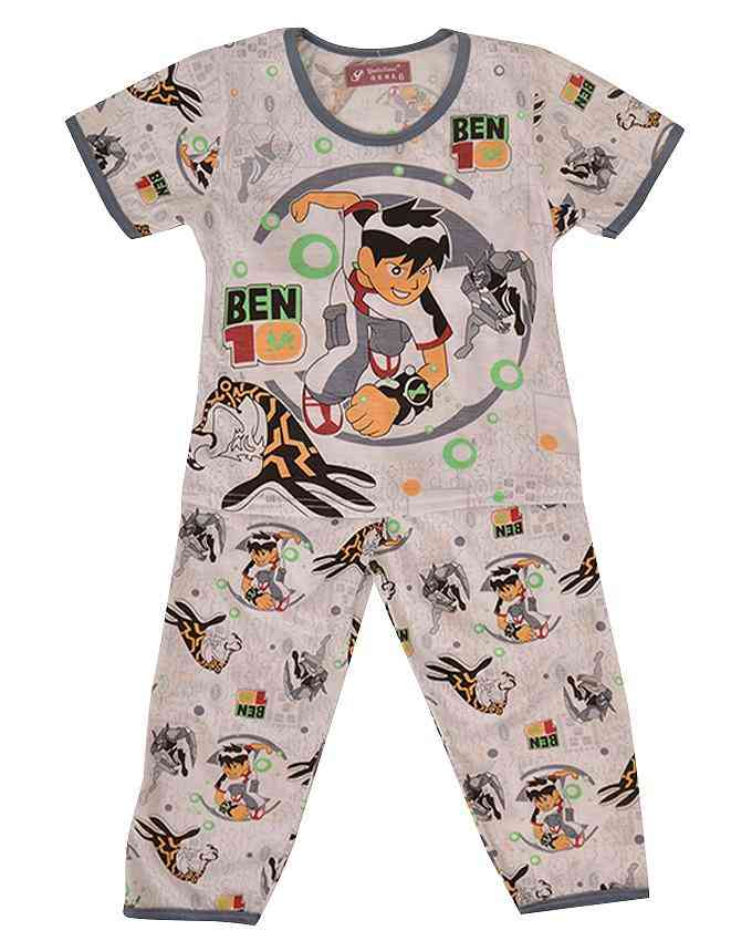 Pack of 2 Pure Cotton Night Suit (Pajama + Tshirt) for Boys - Ben Ten