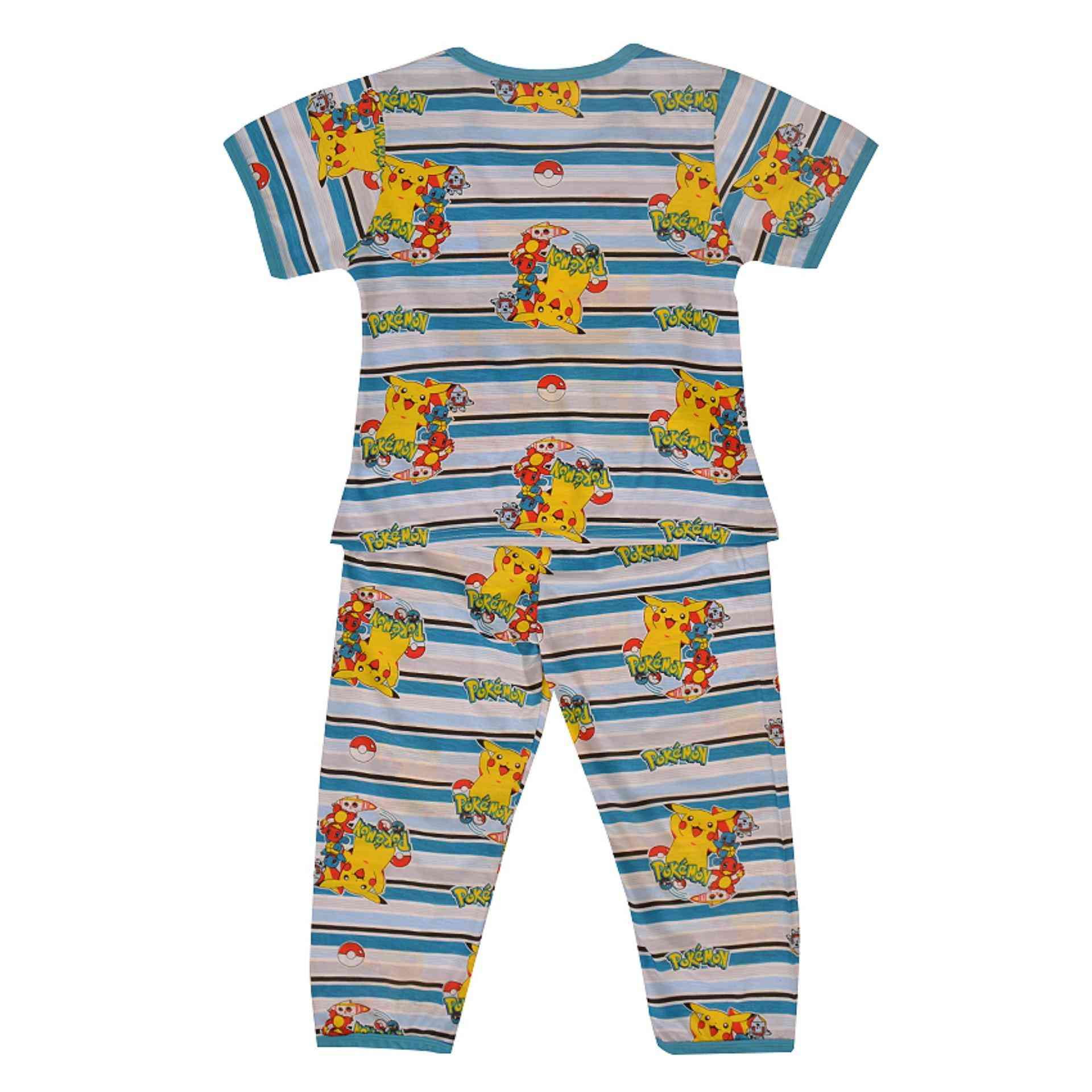 Pack of 2 Pure Cotton Night Suit (Pajama + Tshirt) for Boys - Pokemon