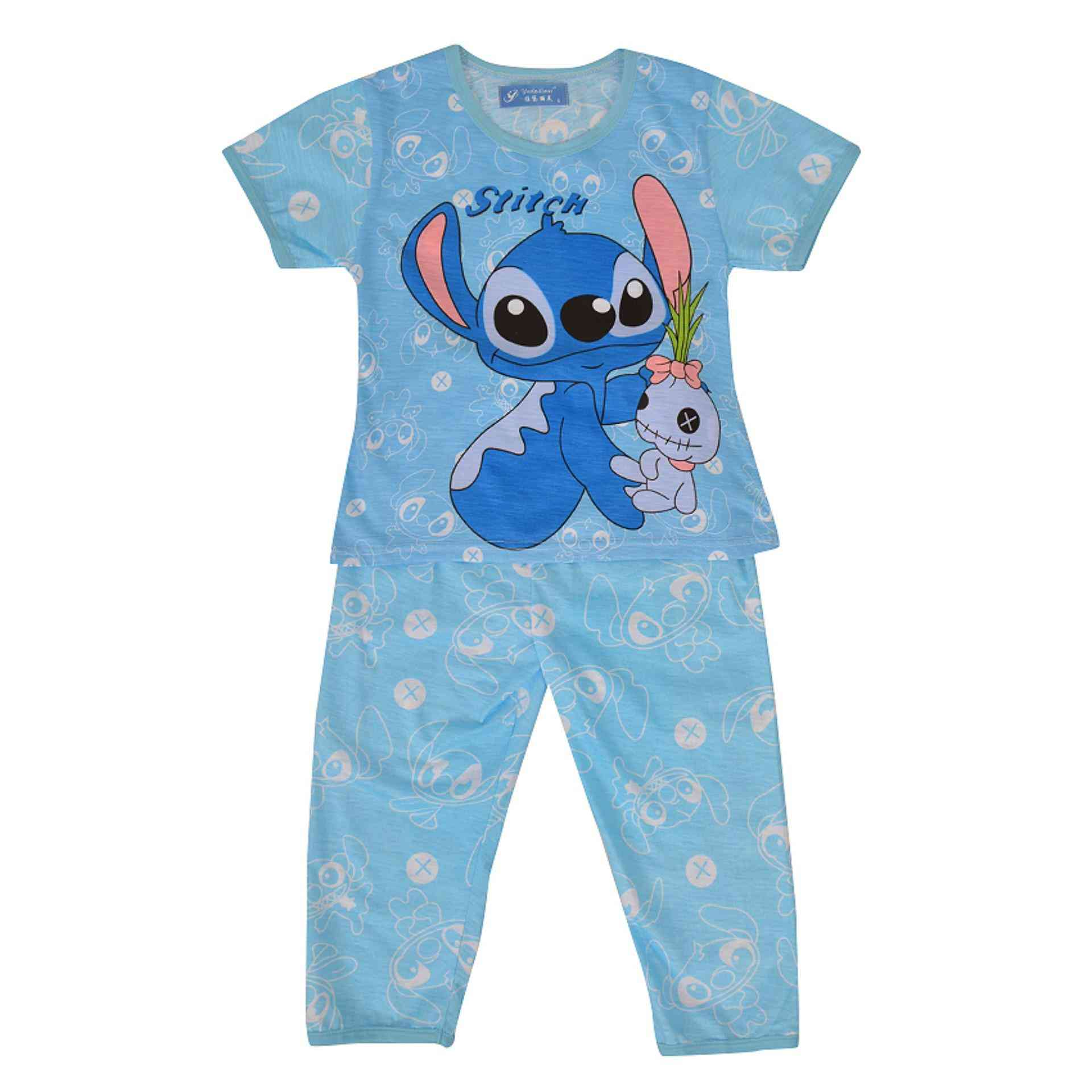 Pack of 2 Pure Cotton Night Suit (Pajama + Tshirt) for Boys - Cartoon