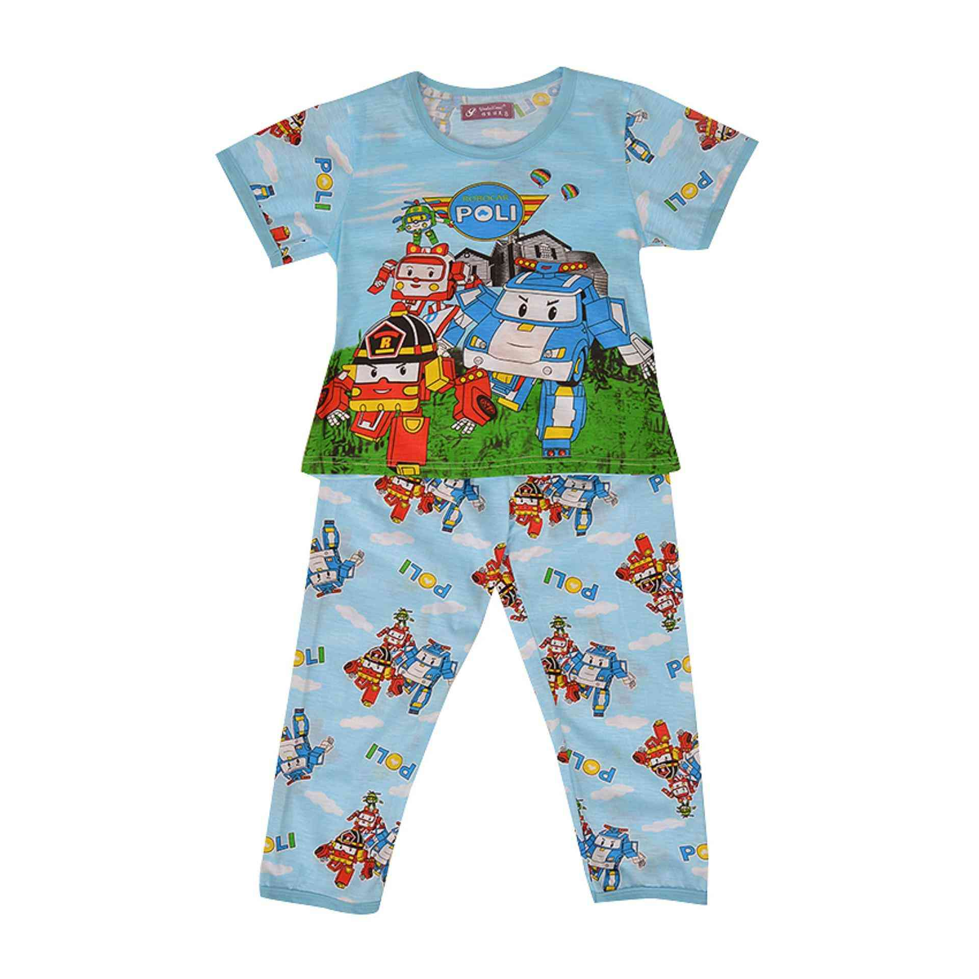 Pack of 2 Pure Cotton Night Suit (Pajama + Tshirt) for Boys - Cars