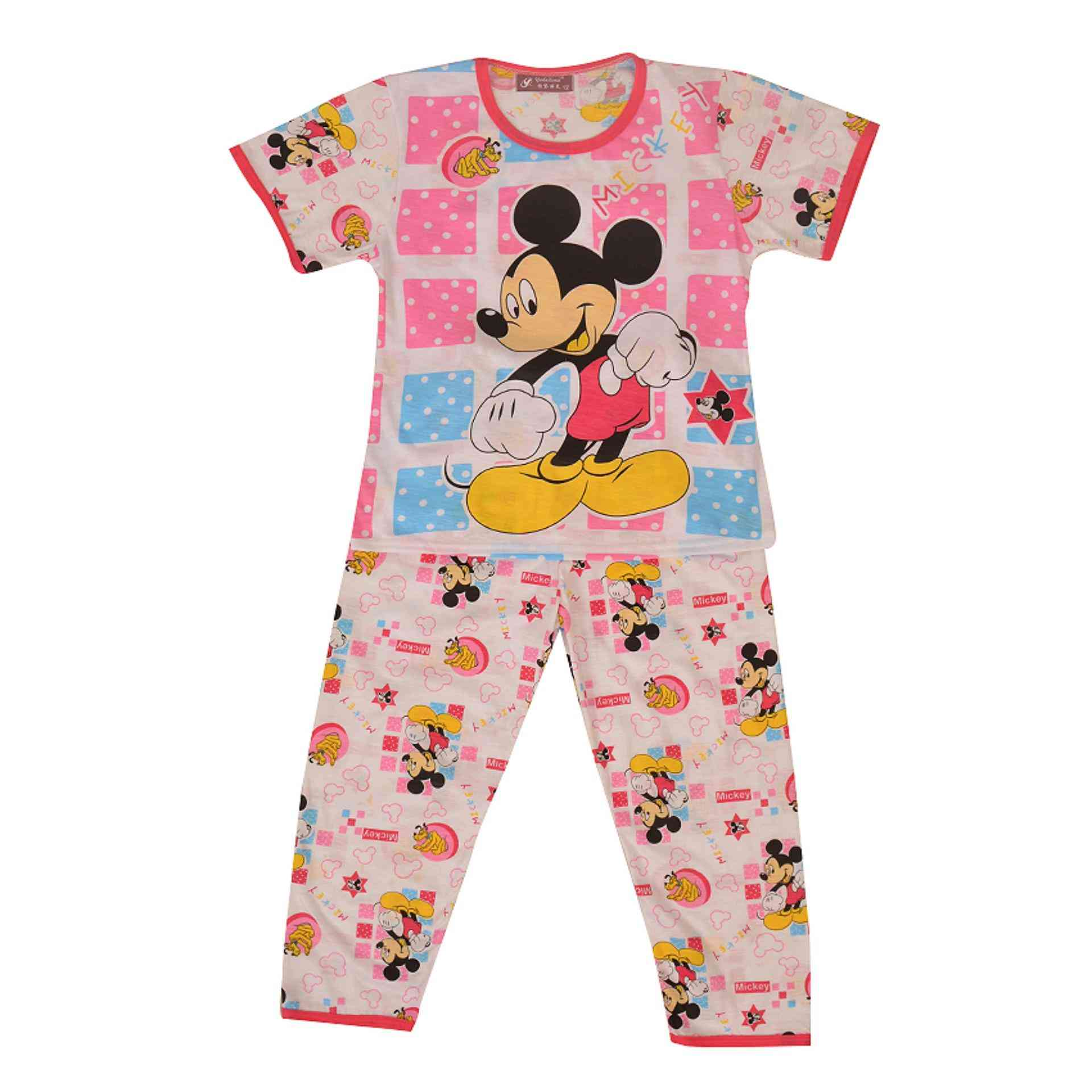 Pack of 2 Pure Cotton Night Suit (Pajama + Tshirt) for Girls - Mickey Mouse
