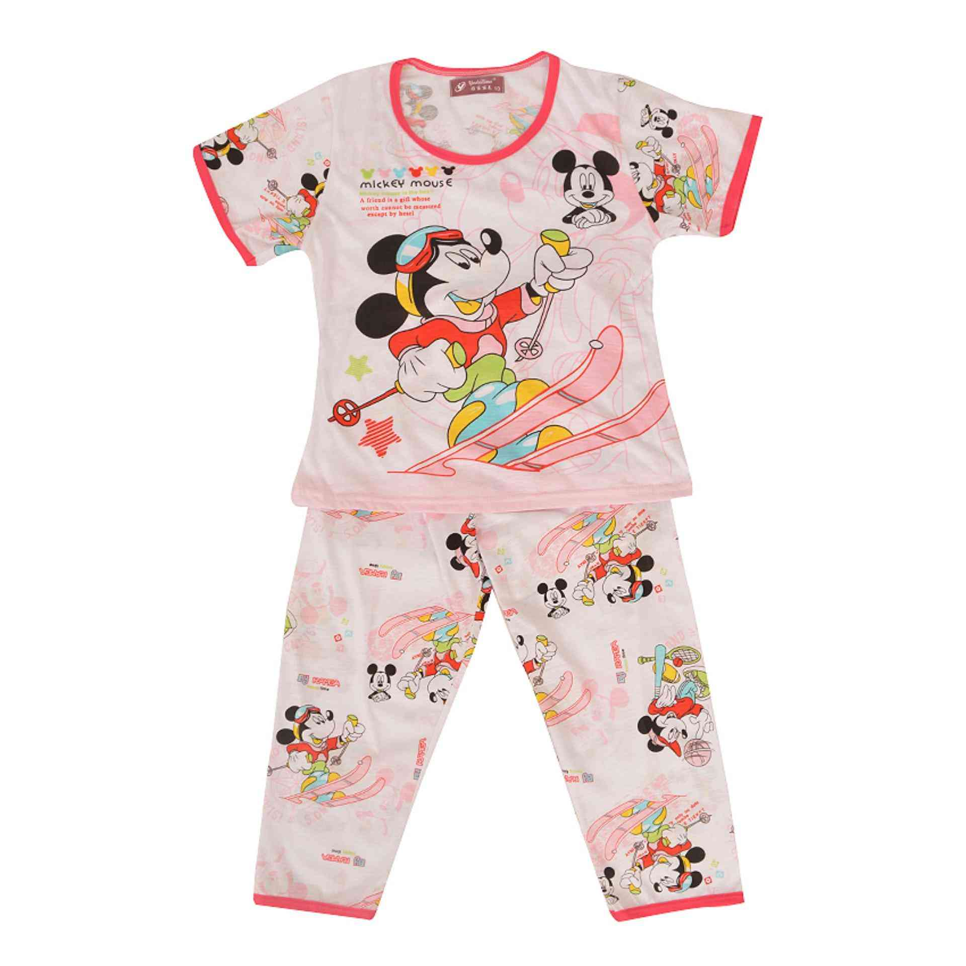 Pack of 2 Pure Cotton Night Suit (Pajama + Tshirt) for Girls - Minnie Mouse