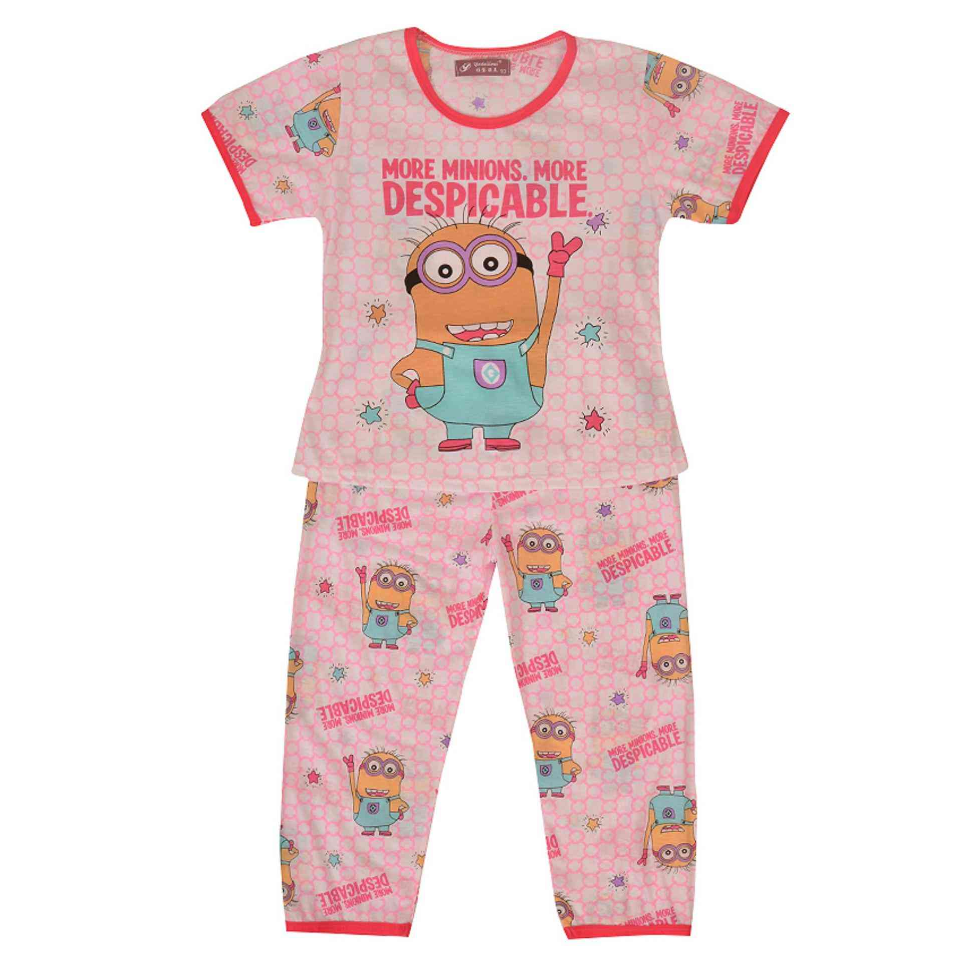 Pack of 2 Pure Cotton Night Suit (Pajama + Tshirt) for Girls - Minnions
