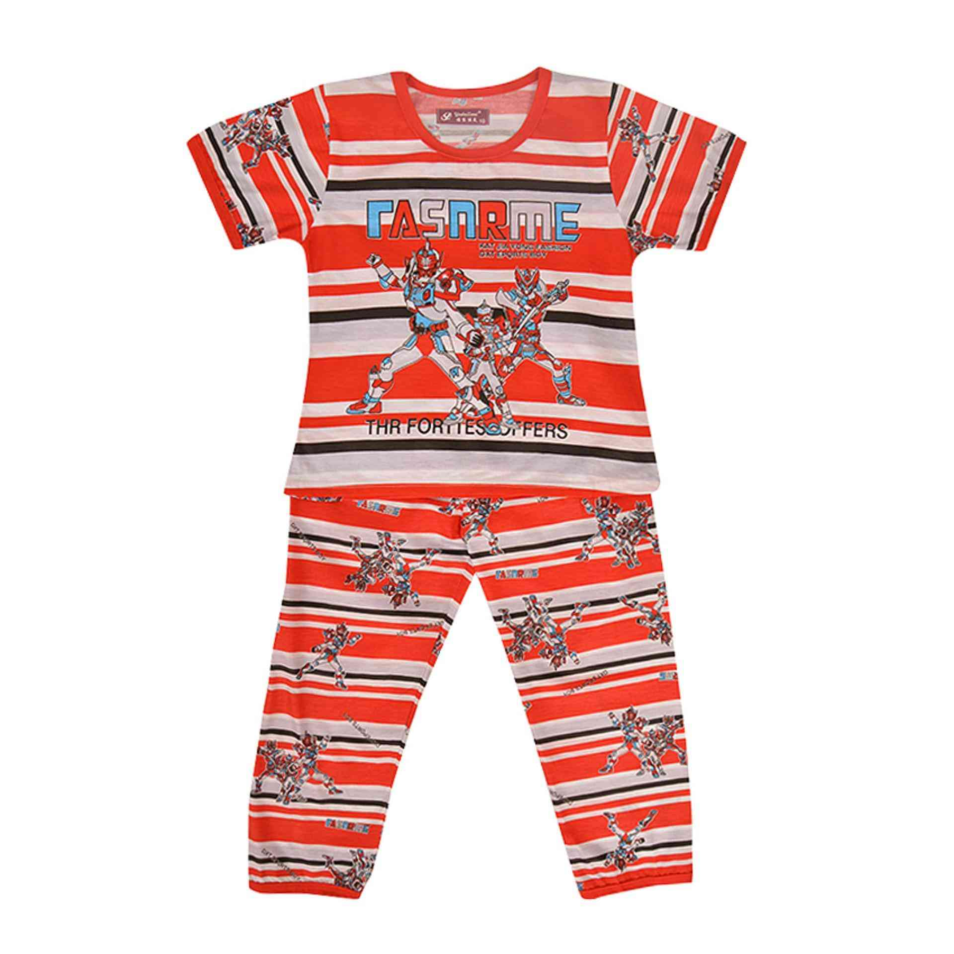Pack of 2 Pure Cotton Night Suit (Pajama + Tshirt) for Girls - Transformers