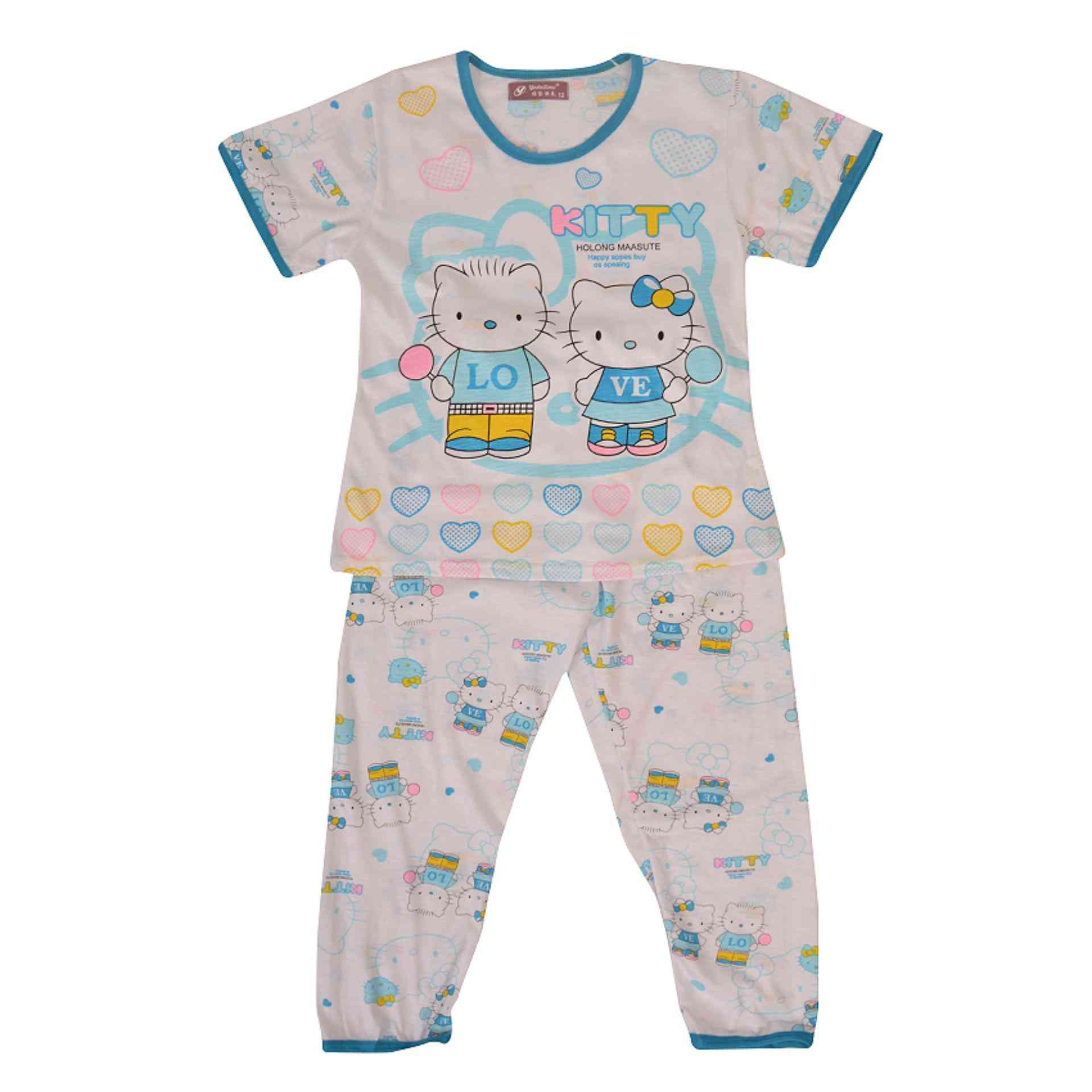 Pack of 2 Pure Cotton Night Suit (Pajama + Tshirt) for Girls - Kitty