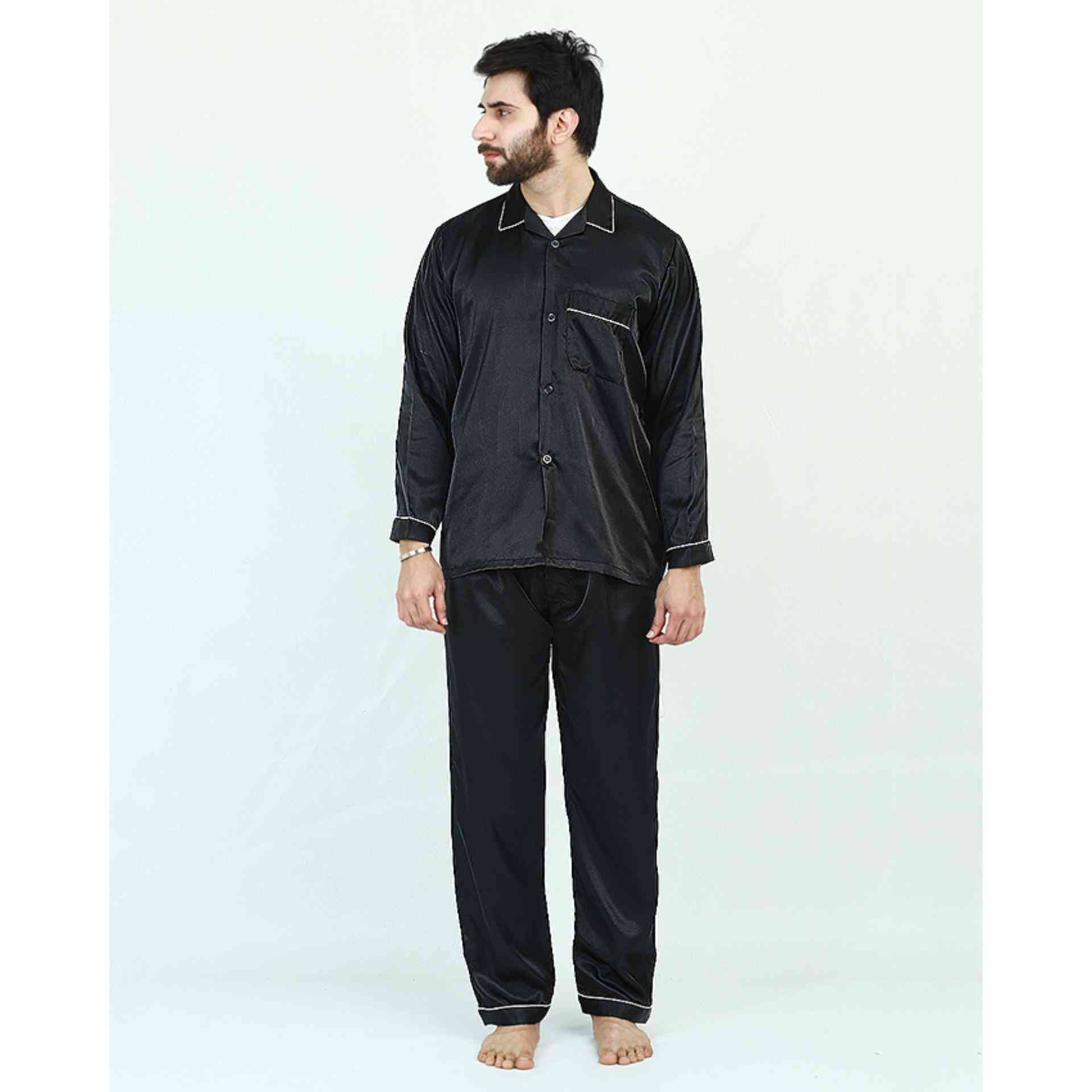 Pack of 2 Satin Silk Night Suit (Pajama + Shirt) for Men - Black