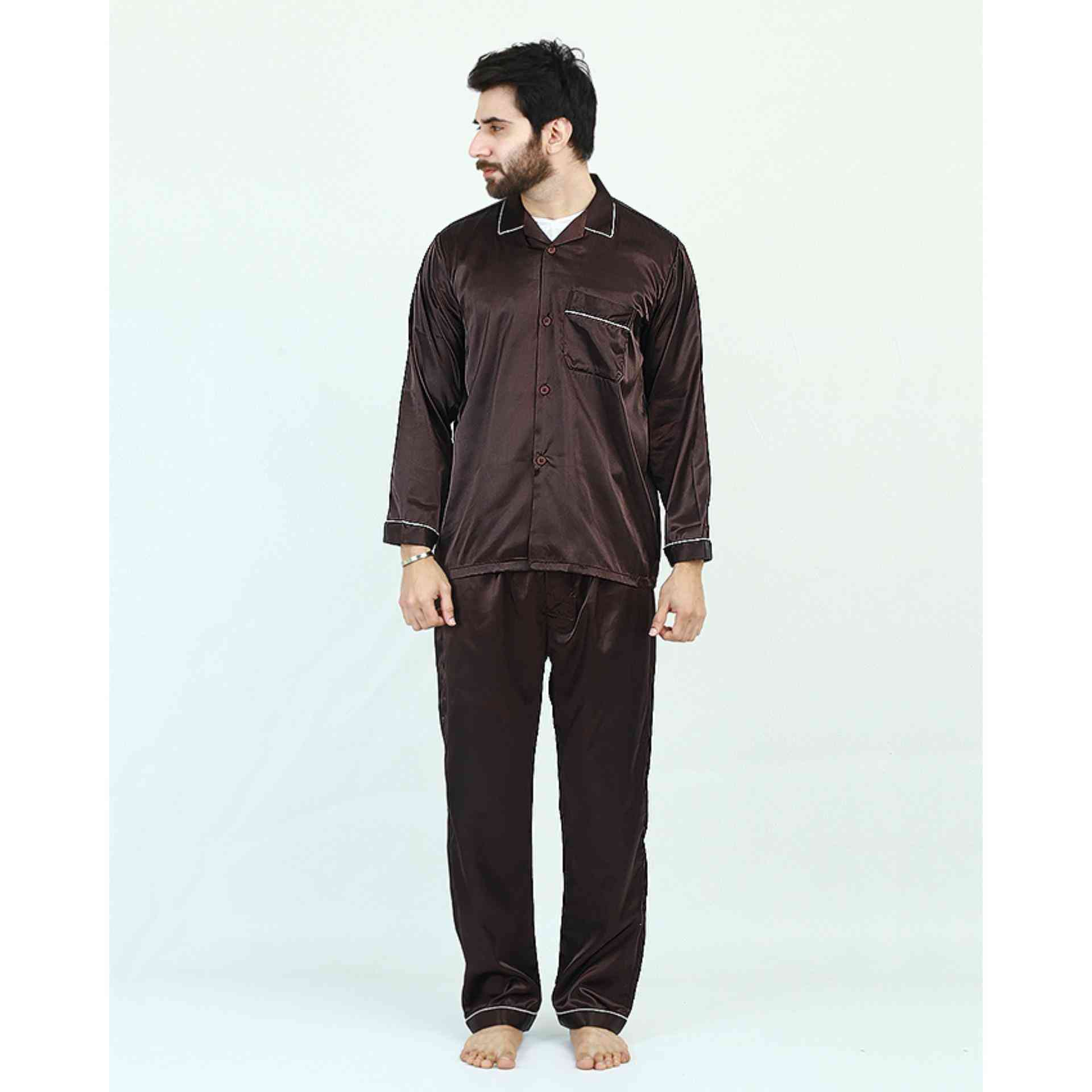 Pack of 2 Satin Silk Night Suit (Pajama + Shirt) for Men - Brown