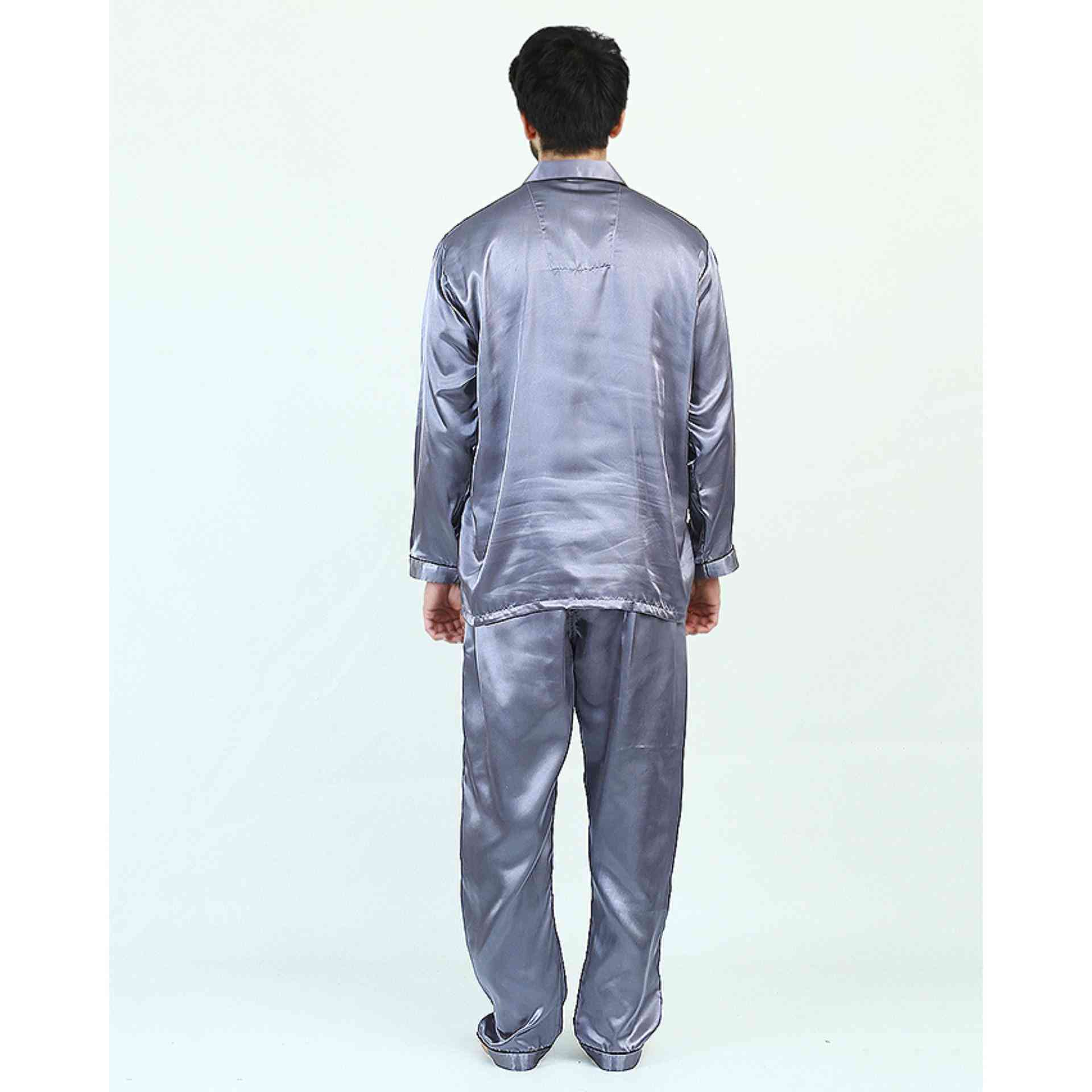 Pack of 2 Satin Silk Night Suit (Pajama + Shirt) for Men - Light Grey
