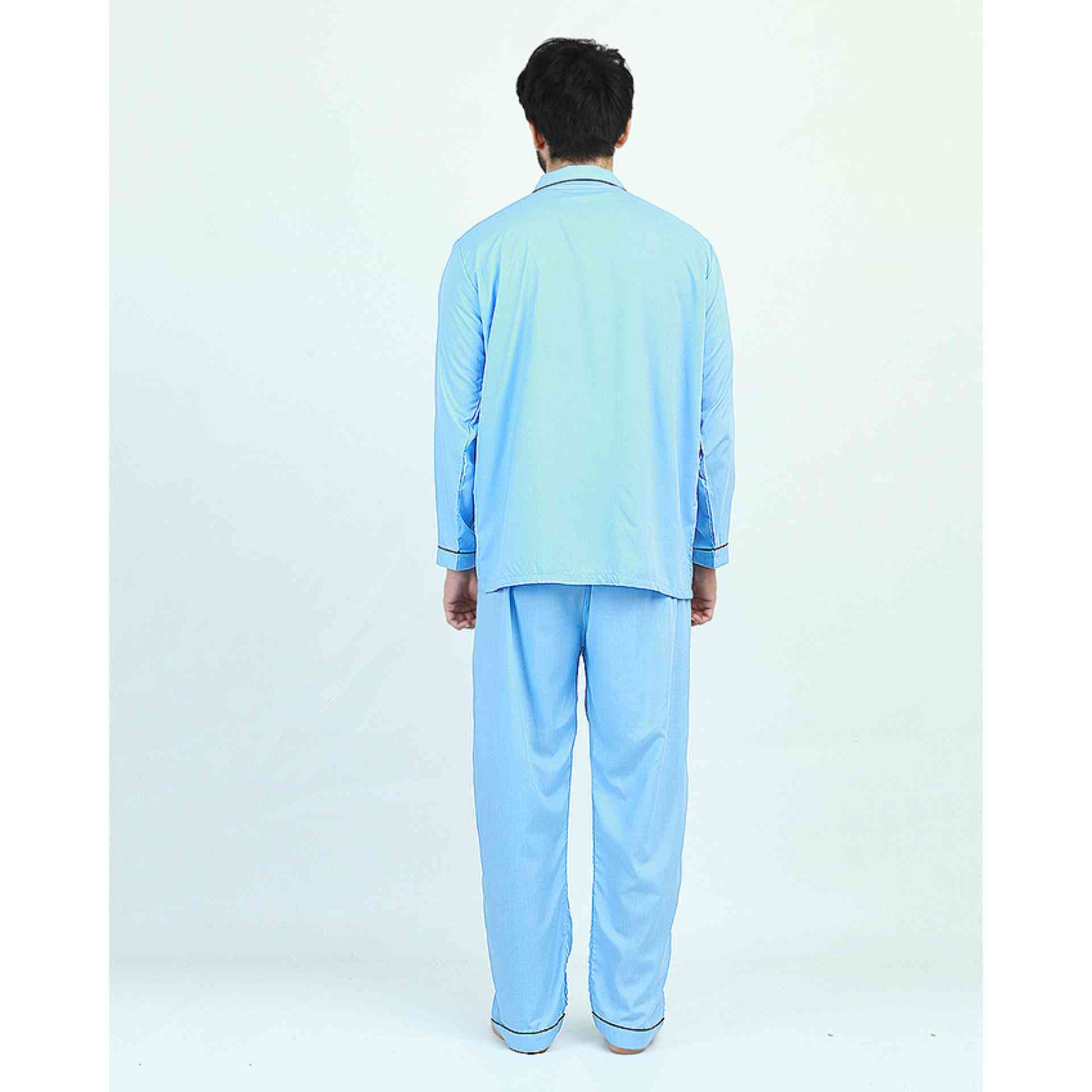 Pack of 2 Cotton Polyester Night Suit (Pajama + Shirt) for Men - Light Blue