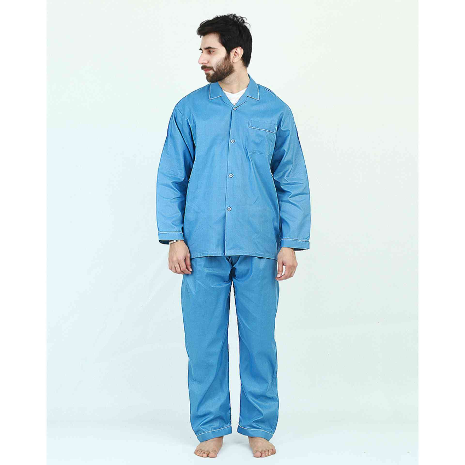 Pack of 2 Cotton Polyester Night Suit (Pajama + Shirt) for Men - Blue
