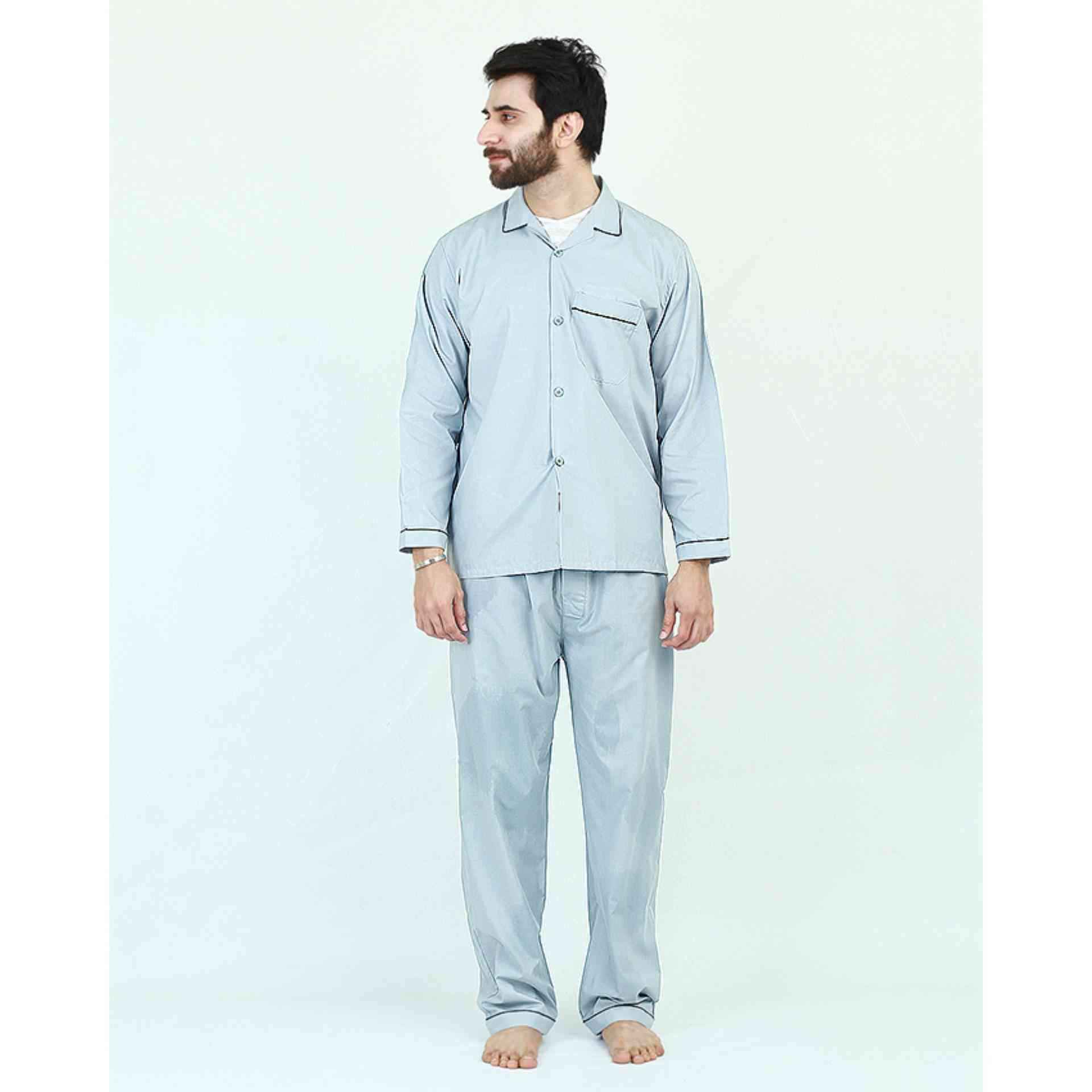 Pack of 2 Cotton Polyester Night Suit (Pajama + Shirt) for Men - Green