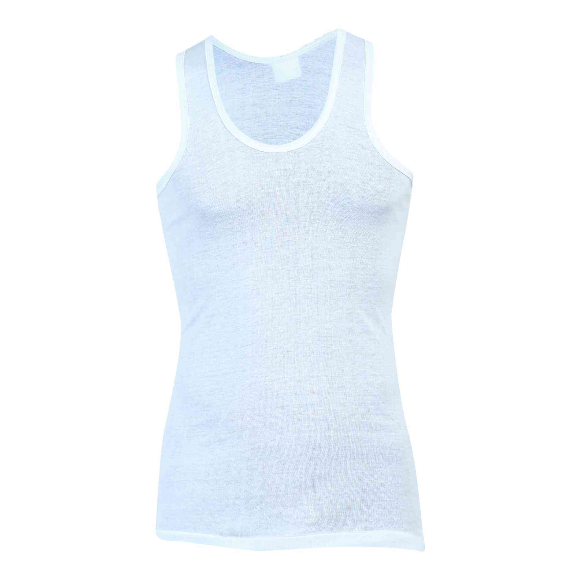 Daisy Summer Cotton Polyester Vest for Men (80% Cotton 20% Polyester) - White