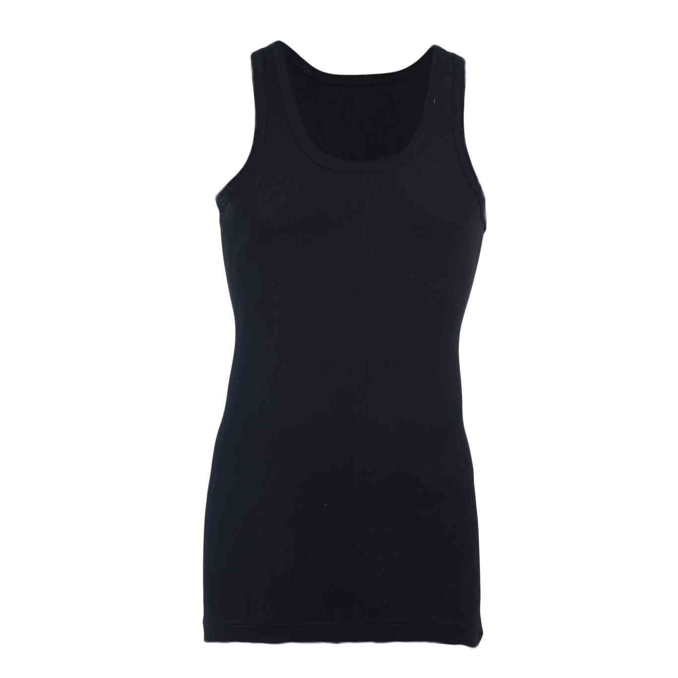Softy Pure Cotton Ribbed Vest for Men - Black