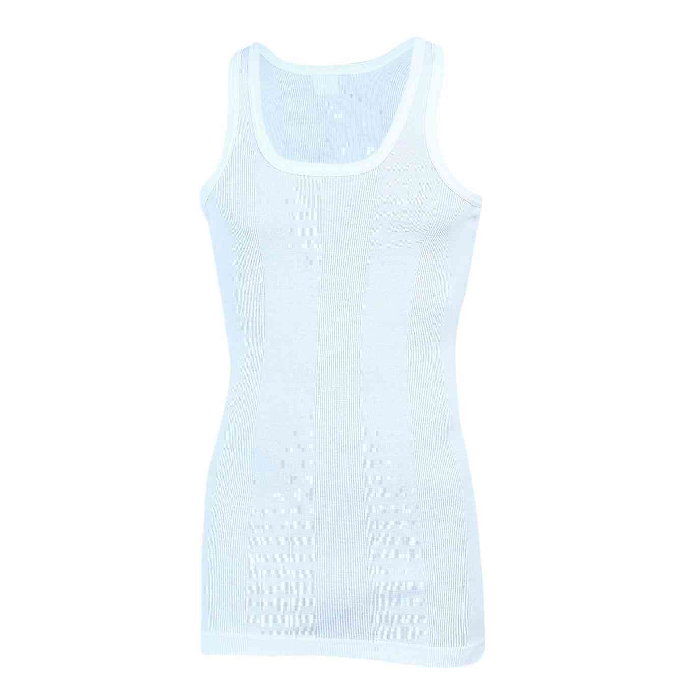 Softy Pure Cotton Ribbed Vest for Men - White