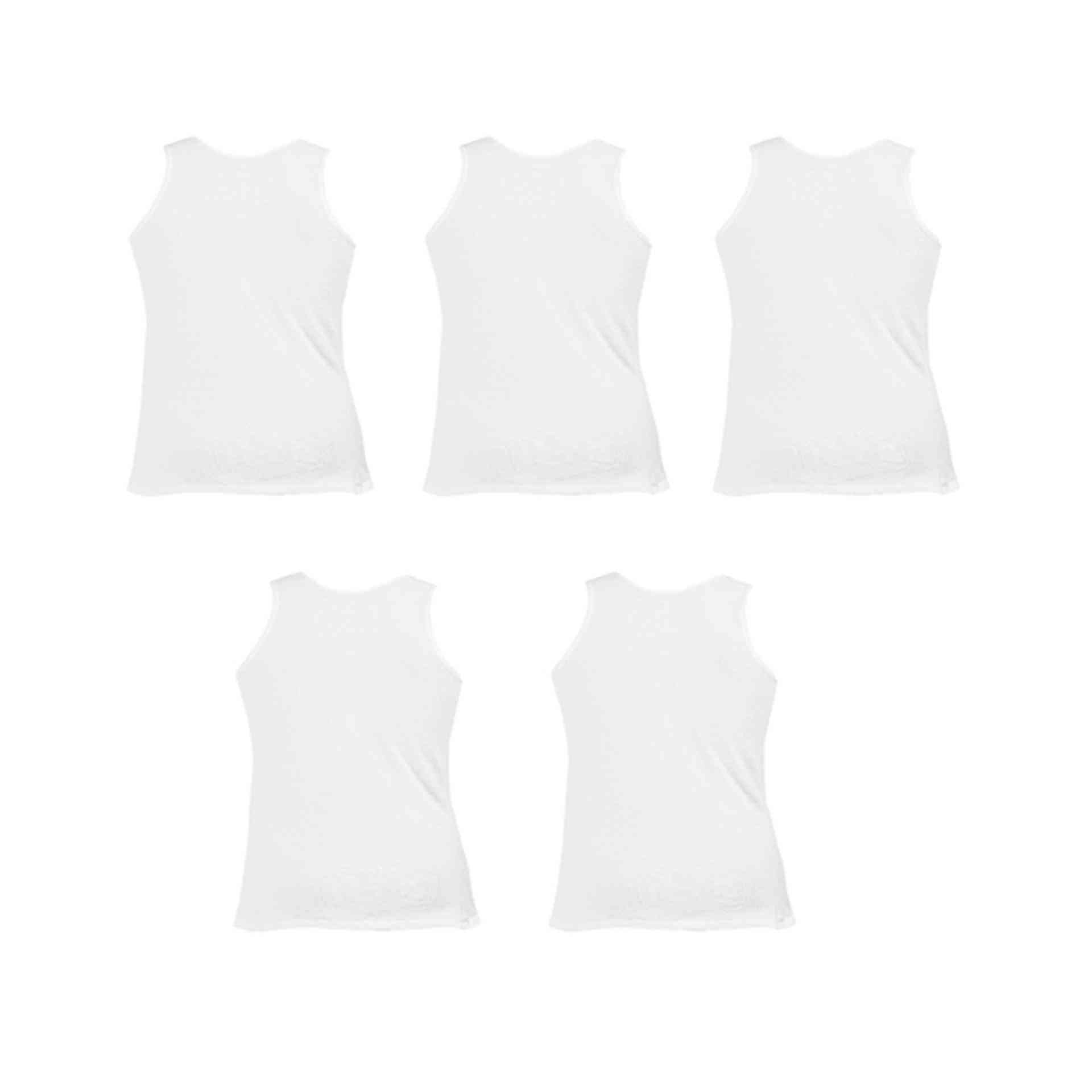 Daisy Summer Pack of 5 Cotton Polyester Vest for Men (80% Cotton 20% Polyester) - White