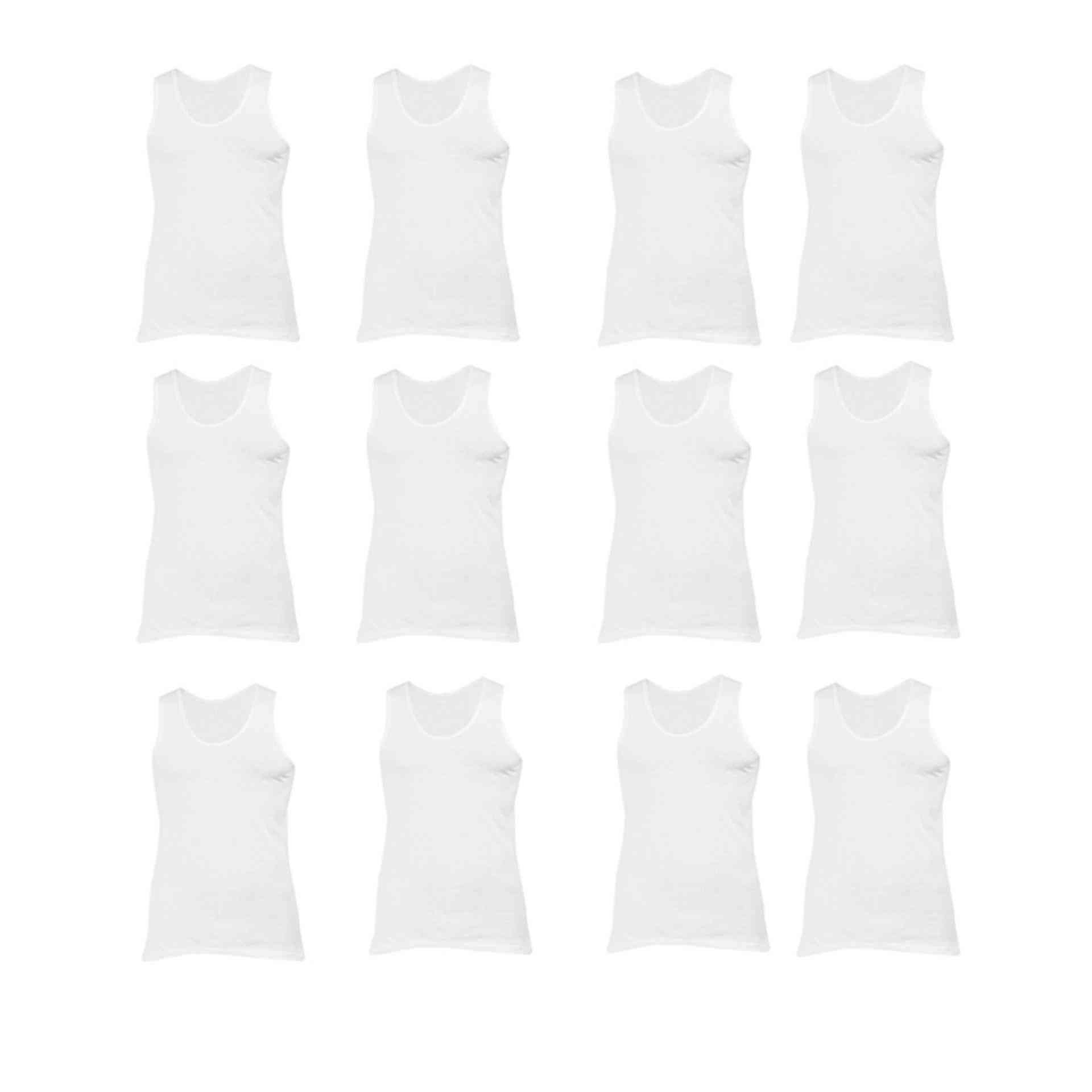 Daisy Summer Pack of 12 Cotton Polyester Vest for Men (80% Cotton 20% Polyester) - White