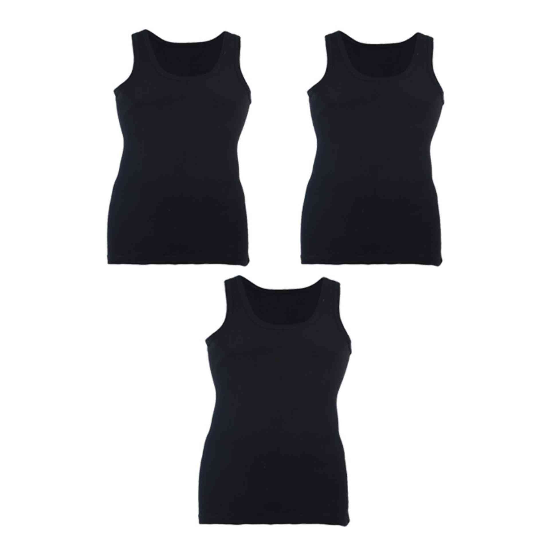 Softy Pack of 3 Pure Cotton Ribbed Vest for Men - Black