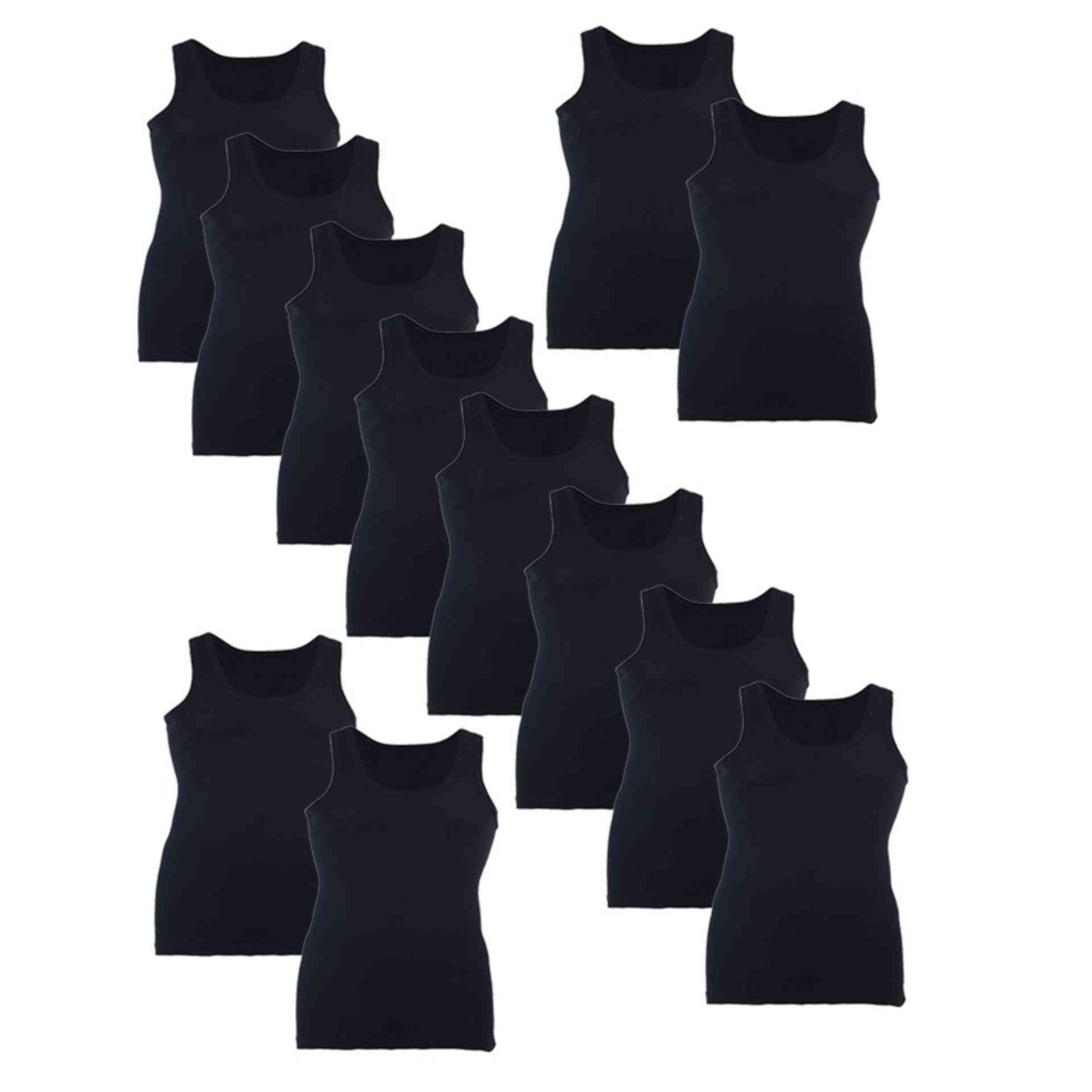 Softy Pack of 12 Pure Cotton Ribbed Vest for Men - Black