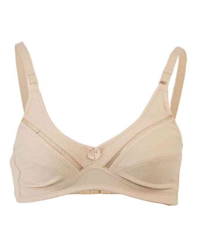Bhimani's Vogue Cotton 2 Hooks Embroidered Net Bra for Women - Beige