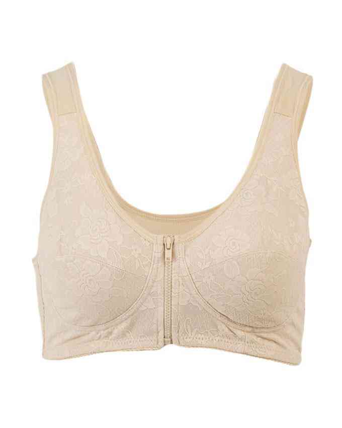 Bhimani's Vogue Cotton 2 Hooks Front Open Embroidered Bra for Women - Beige