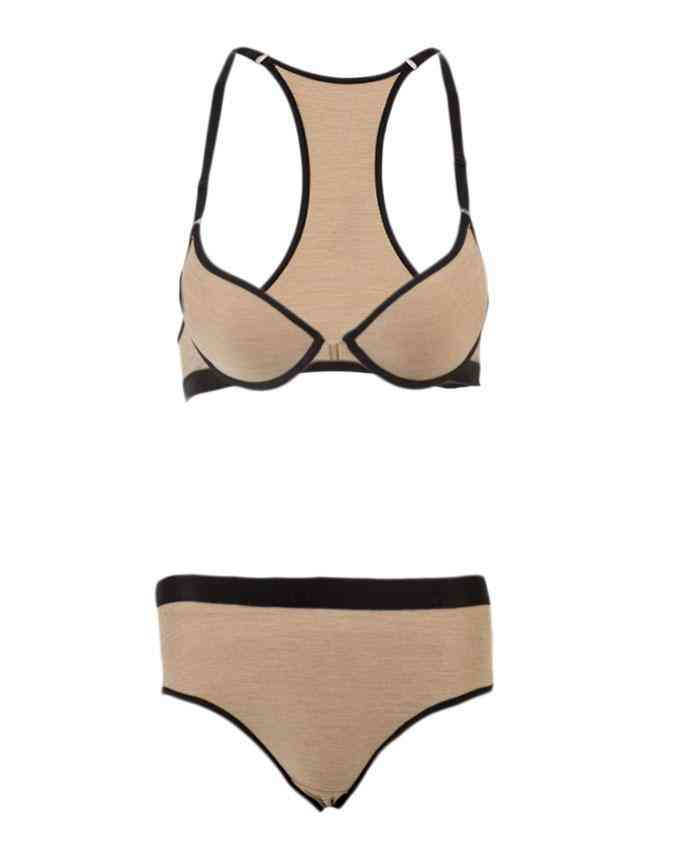 Bhimani's Vogue Jersey Lightly Padded Bra Panty Set for Women - Beige