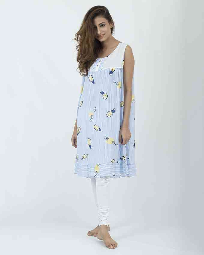Bhimani's Vogue Cotton Slim Fit Floral Print Long Sleeveless Night Suit Tshirt for Women (36 Inch Length) - Light Blue