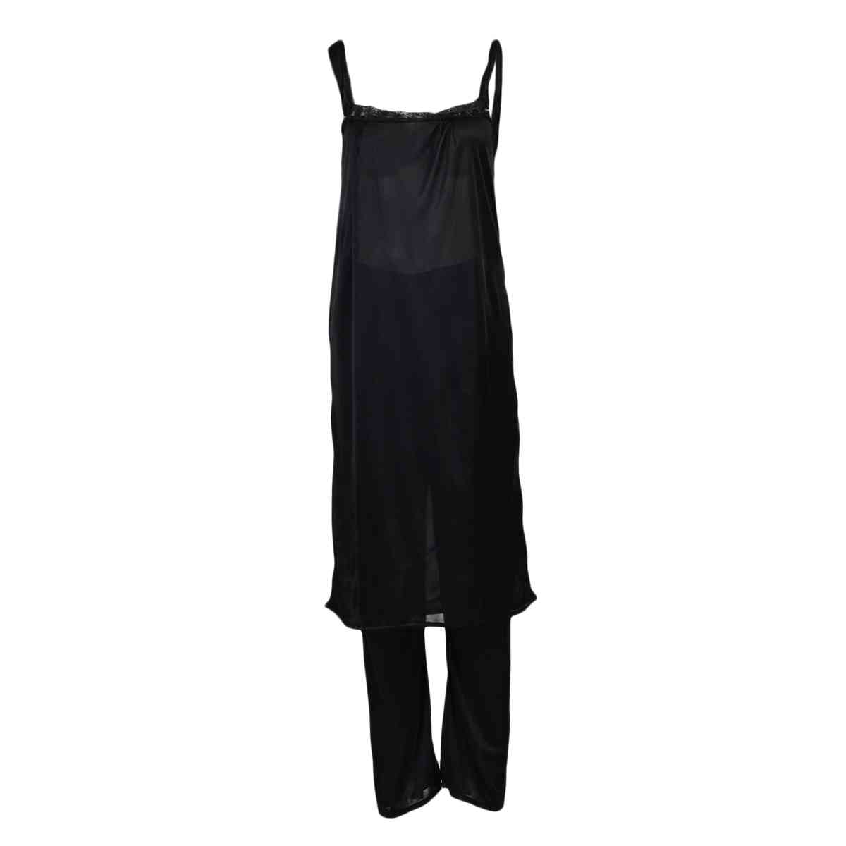 Pack of 3  Women Beautiful Night Dress / Sleepwear  Nighty (GOWN + Inner Dress + Trouser) - Black