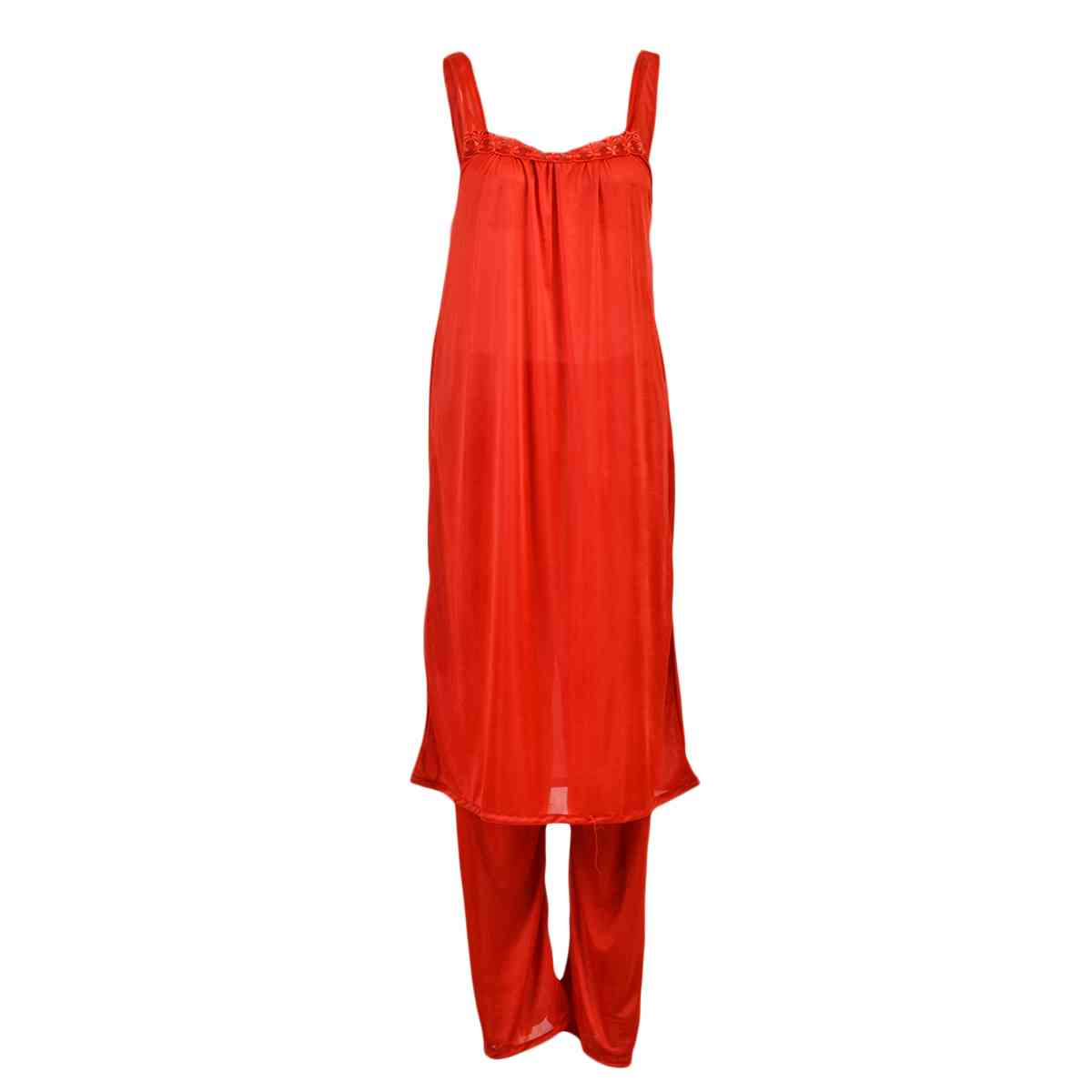 Pack of 3  Women Beautiful Night Dress / Sleepwear  Nighty (GOWN + Inner Dress + Trouser) - Red