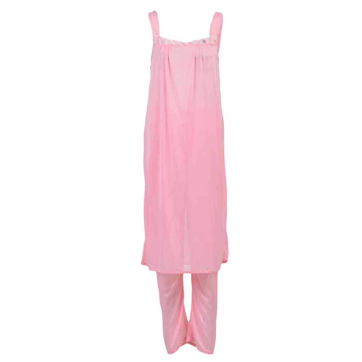 Pack of 3  Women Beautiful Night Dress / Sleepwear  Nighty (GOWN + Inner Dress + Trouser) - Pink