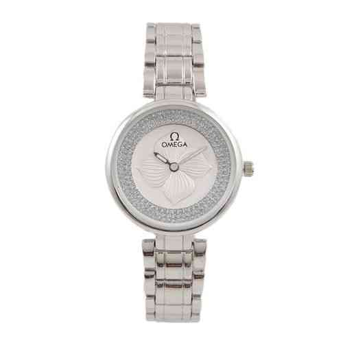 Japanese Flower Embossed Chain Watch for Women Silver