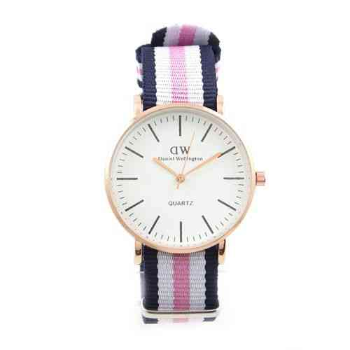 Golden Dial Watch For Men and Women Pink and Blue