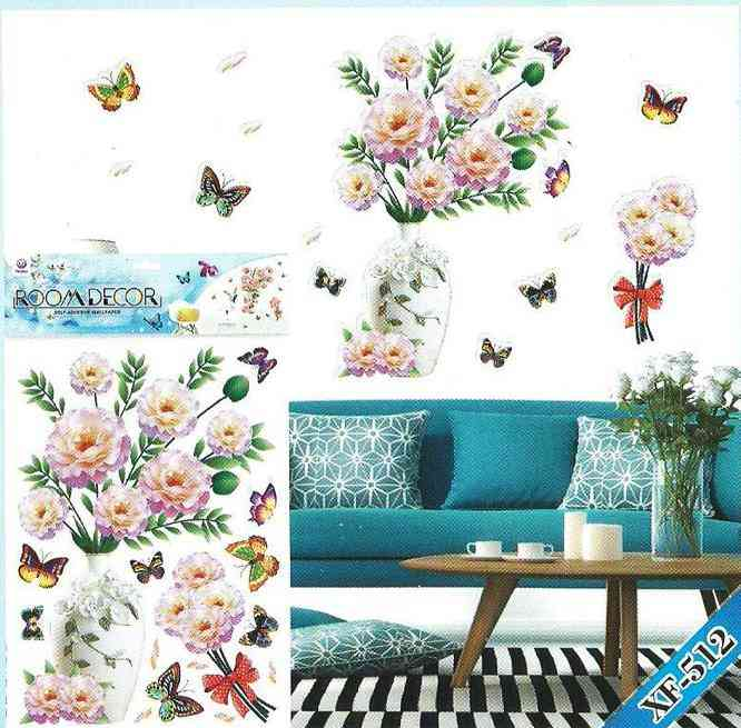 Beautiful 3D Glossy Flower Pot and Butterflies Wall Sticker For Living Room Sofa Room Bedroom Wall Decoration (20x14 Inches)
