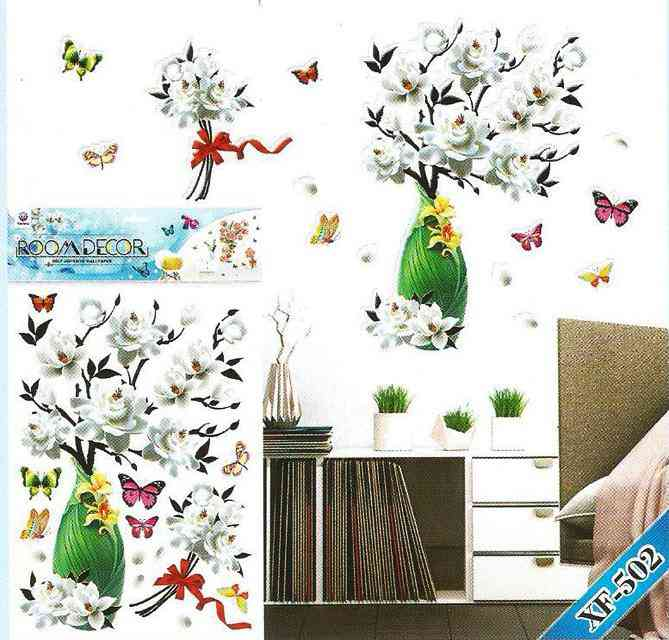 Beautiful 3D Glossy Green Flower Pot and Butterflies Wall Sticker For Living Room Sofa Room Bedroom Wall Decoration (20x14 Inches)