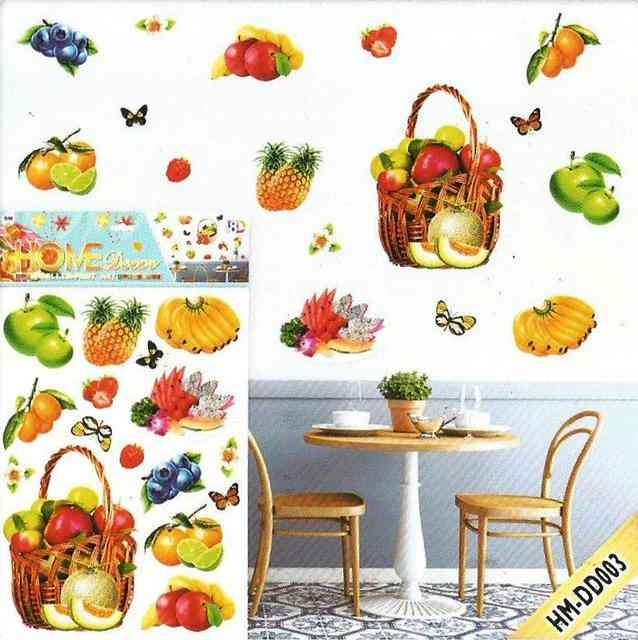 Beautiful 3D Glossy Fruit Basket Wall Sticker For Living Room Sofa Room Bedroom Wall Decoration (20x14 Inches)