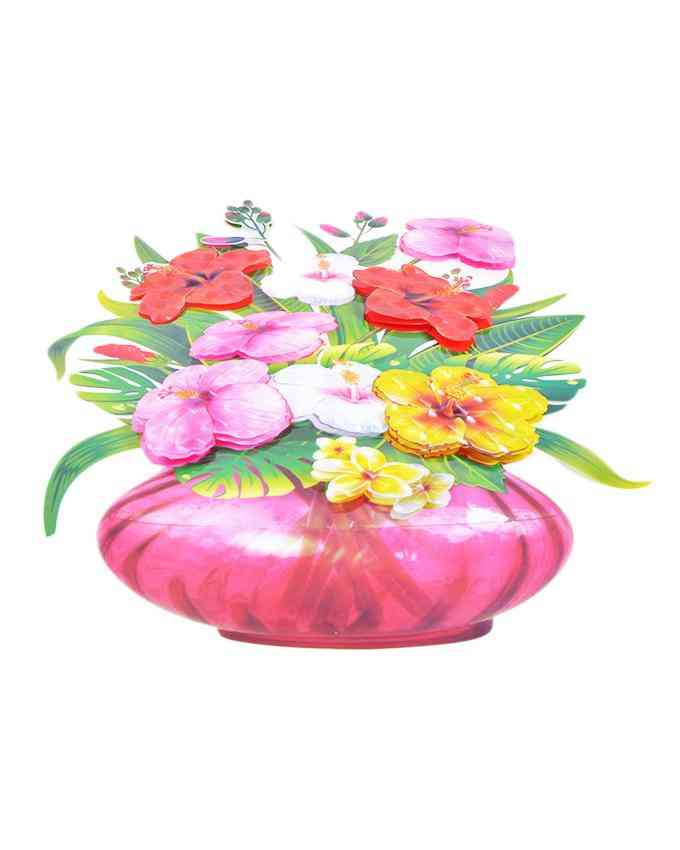 3D and Glossy Flowers With Pot Wall Sticker For Living Room Sofa Room Bedroom Wall Decoration (21x15 Inch)