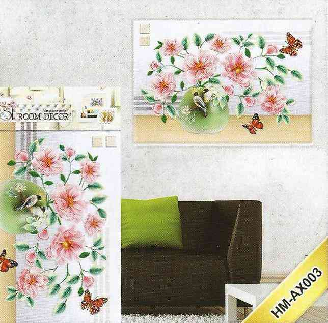 3D and Glossy Sunflowers With Pot Wall Sticker For Living Room Sofa Room Bedroom Wall Decoration (21x15 Inch) - Pink