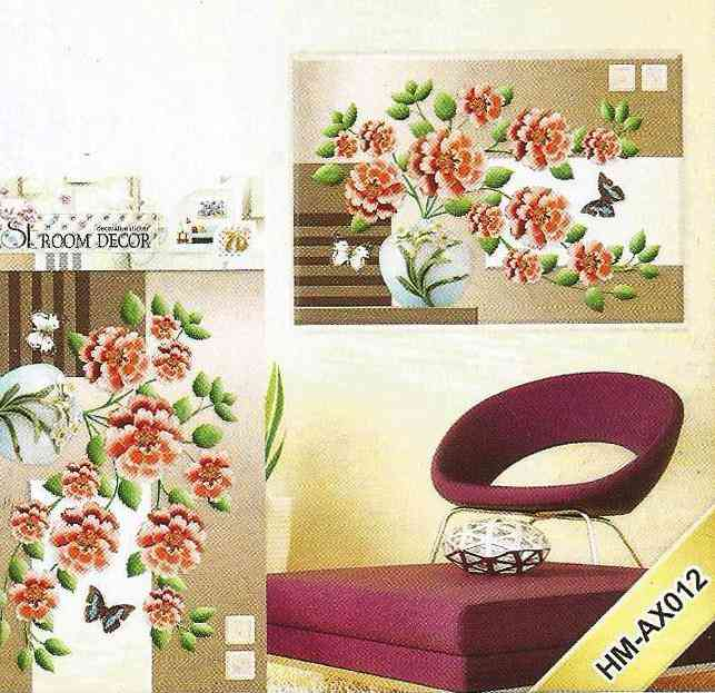 3D and Glossy Flowers With Pot Wall Sticker For Living Room Sofa Room Bedroom Wall Decoration (21x15 Inch) - Pink