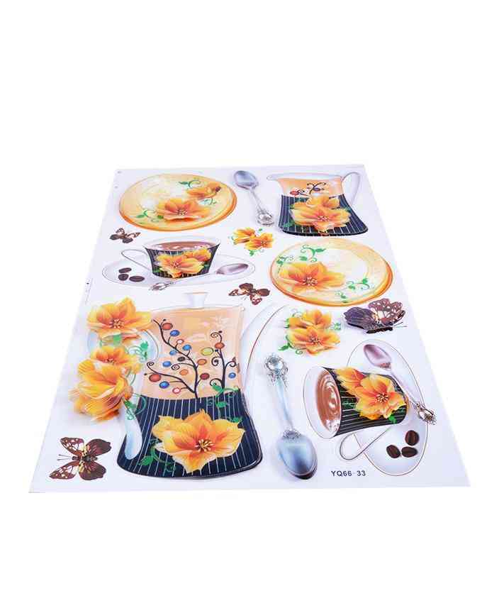 3D and Glossy Flowers and Crockery Wall Sticker For Kitchen Wall Decoration (21x13 Inch) - Orange