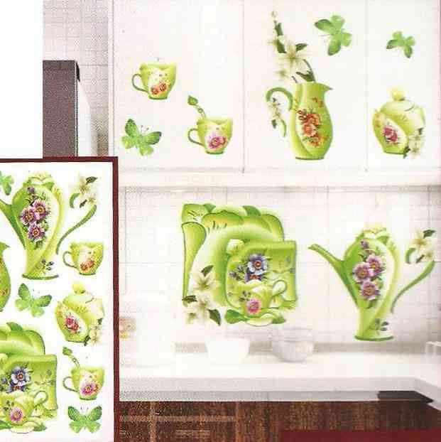 3D and Glossy Flowers and Crockery Wall Sticker For Kitchen Wall Decoration (21x13 Inch) - Green