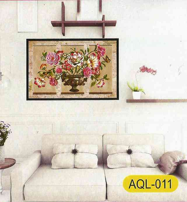 Buy 3D and Glossy Flowers and Pot Wall Frame Design Wall