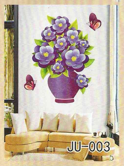 3D and Glossy Purple Flowers and Pot Wall Sticker for Living Room Sofa Room Wall Decoration (19x14 Inch)