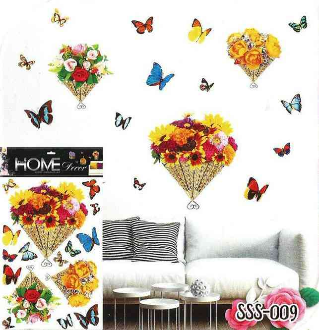 3D and Glossy Flowers Cage and Butterflies Wall Sticker for Living Room Sofa Room Wall Decoration (24x16 Inch)