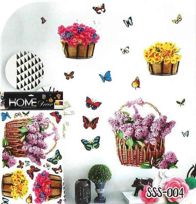 3D and Glossy Flowers Basket and Butterflies Wall Sticker for Living Room Sofa Room Wall Decoration (24x16 Inch)