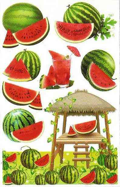 3D and Glossy Watermelon Wall Sticker for Kitchen Wall Decoration (23x15 Inch)