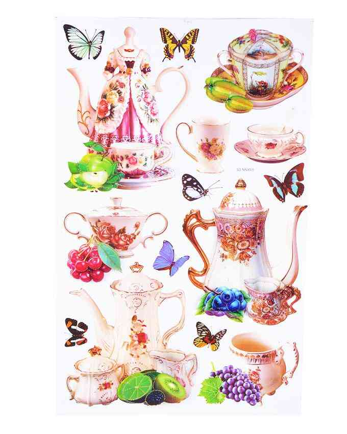 3D and Glossy Crockery Tea Pots Wall Sticker for Kitchen Wall Decoration (23x15 Inch)