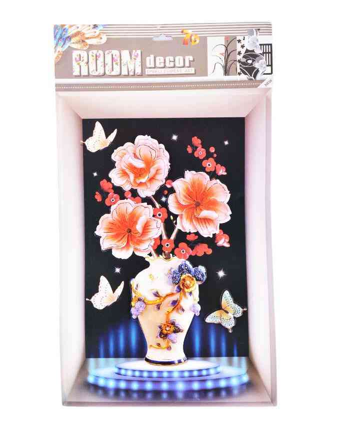 3D and Glossy Flowers and Pot Wall Frame Design Wall Sticker for Wall Decoration (24x16 Inch) - Orange