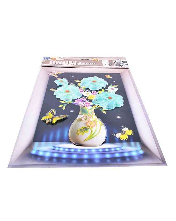 3D and Glossy Flowers and Pot Wall Frame Design Wall Sticker for Wall Decoration (24x16 Inch) - Blue