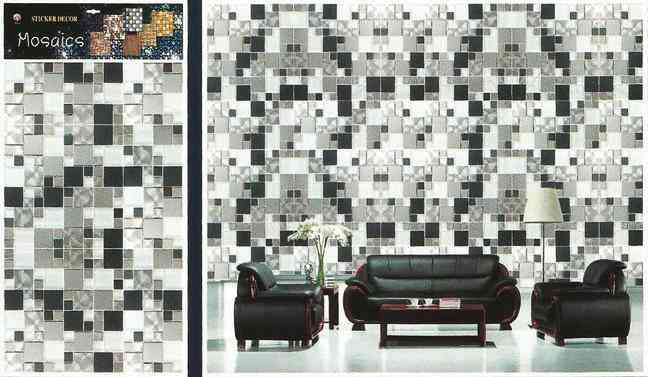 Small Squares Tiles Design Wallpaper Like Wall Sticker for Wall Decoration (30x18.5 Inches)