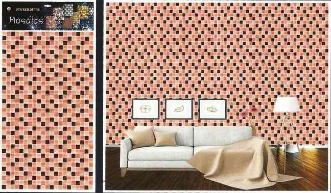 Lego Pixels Design Wallpaper Like Wall Sticker for Wall Decoration (30x18.5 Inches) - Red